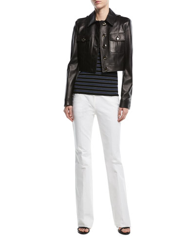 Button-Front Cropped Plongé Leather Jacket and Matching Items