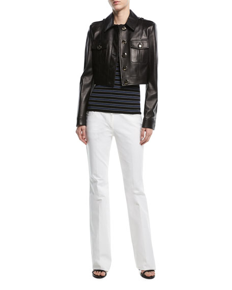 Button-Front Cropped Plongé Leather Jacket