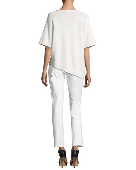 Crewneck Asymmetric Cashmere Pullover