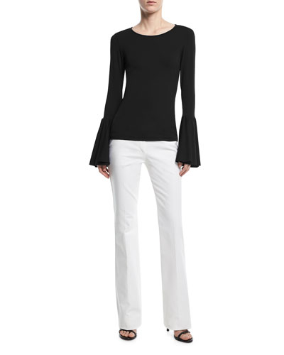 Mid-Rise Flared Stretch-Cotton Pants and Matching Items