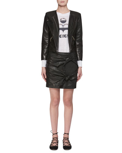 Grinly Zip-Front Leather Moto Jacket and Matching Items
