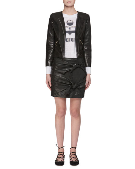 Grinly Zip-Front Leather Moto Jacket