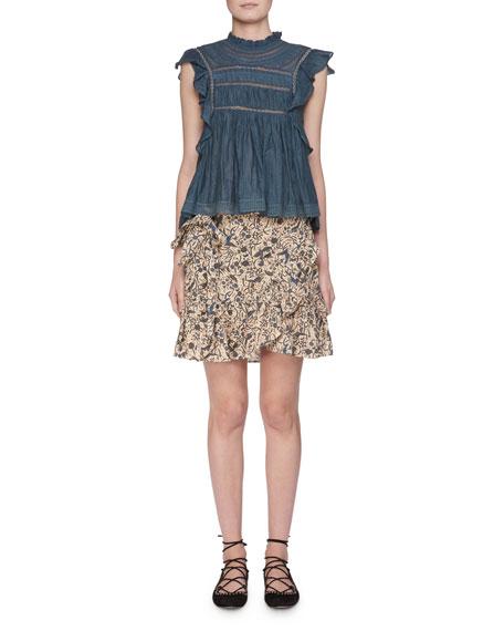 Vivia Sleeveless Cotton Blouse with Lace Trim