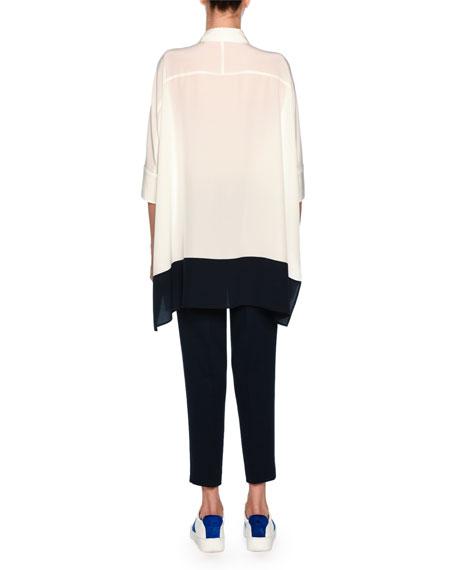 Silk Crepe de Chine Colorblock Tunic Shirt