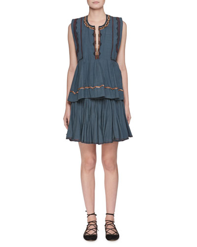 Barney Split-Neck Sleeveless Chambray Blouse with Embroidery and Matching Items