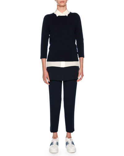 Straight-Leg Cropped Wool Trousers and Matching Items