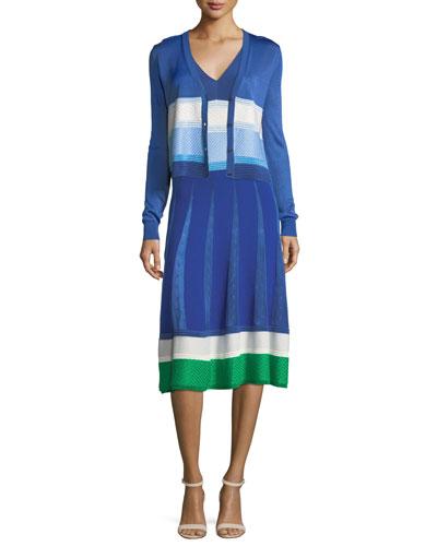 V-Neck Sleeveless Mixed-Knit Midi Dress and Matching Items