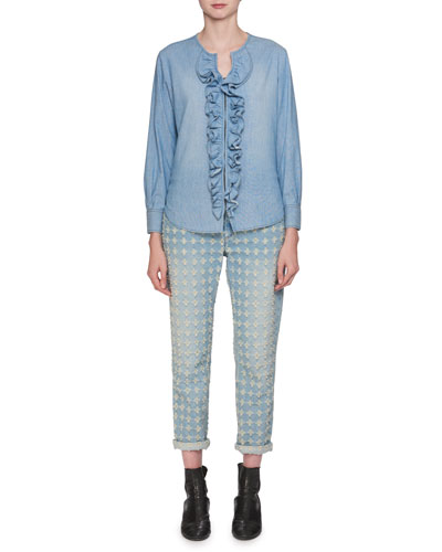 Liz Hook-Front Long-Sleeve Denim Blouse with Ruffled Trim and Matching Items