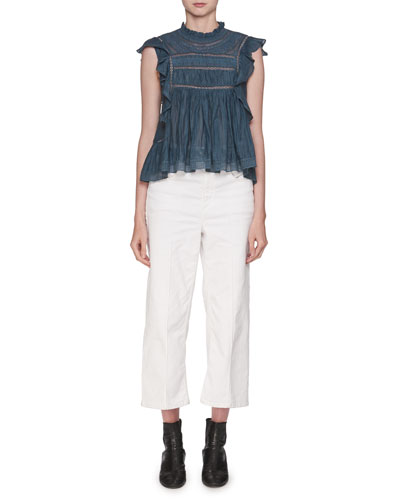 Vivia Sleeveless Cotton Blouse with Lace Trim and Matching Items