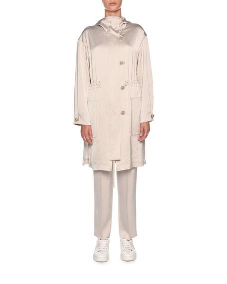 V-Neck Button-Front Oversized Silk Cardigan with Knit Hem