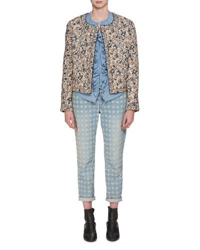 Hustin Printed Quilt Jacket with Studs Trim and Matching Items