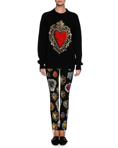 Long-Sleeve Oversized Wool-Blend Sweater w/ Heart Print and Matching Items