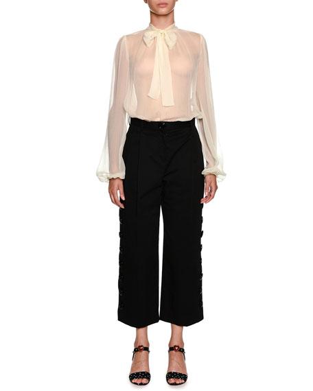 Bow-Neck Long-Sleeve Silk Chiffon Blouse