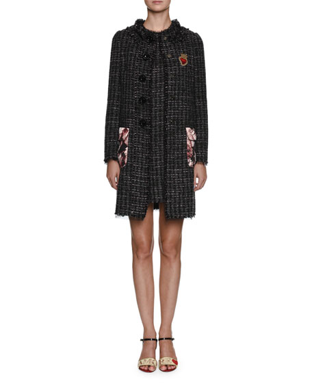 Tweed Button-Front Coat w/ Printed Pockets