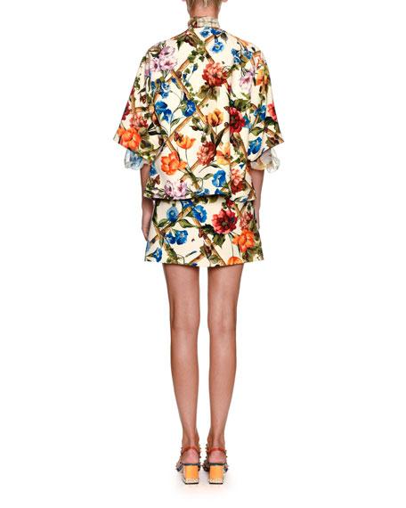 Floral Bamboo-Print A-Line Wool-Silk Skirt