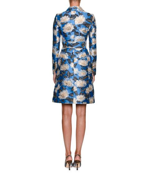 Sleeveless Metallic Jacquard A-Line Dress