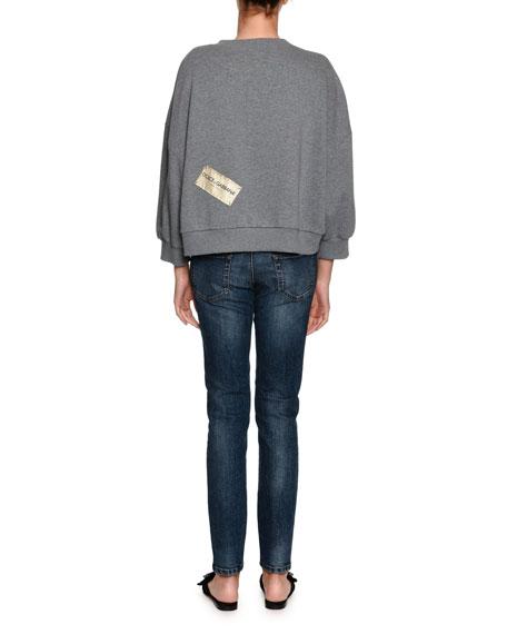D&G Love Sequin Crewneck Cotton Sweatshirt