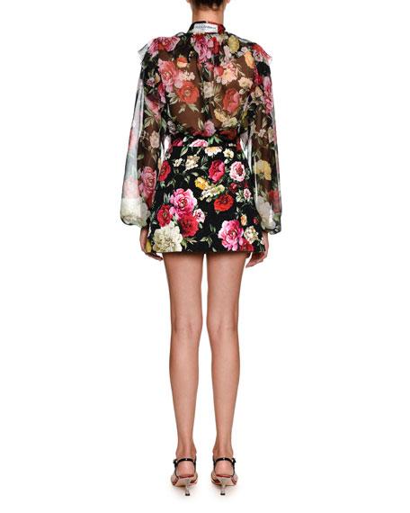 Bow-Tie Long-Sleeve Floral-Print Silk Chiffon Blouse