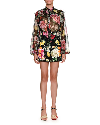Floral-Print Brocade Mini Skirt and Matching Items