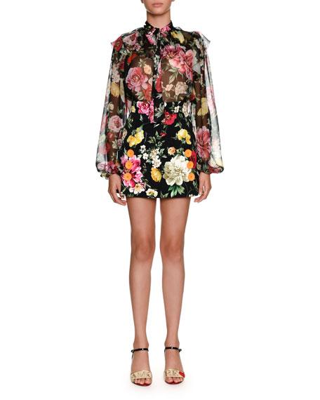 Floral-Print Brocade Mini Skirt