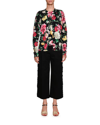 Side Snaps Wide-Leg Crop Stretch-Cotton Pants and Matching Items