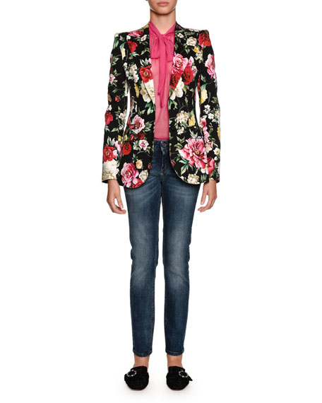 Single-Breasted Floral-Print Cotton Drill Blazer