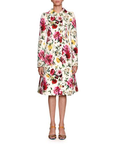 Sleeveless Floral Brocade Sheath Daytime Dress and Matching Items