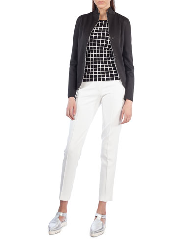 Dot-Press Stand-Collar Reversible Grid Pattern Blazer and Matching Items
