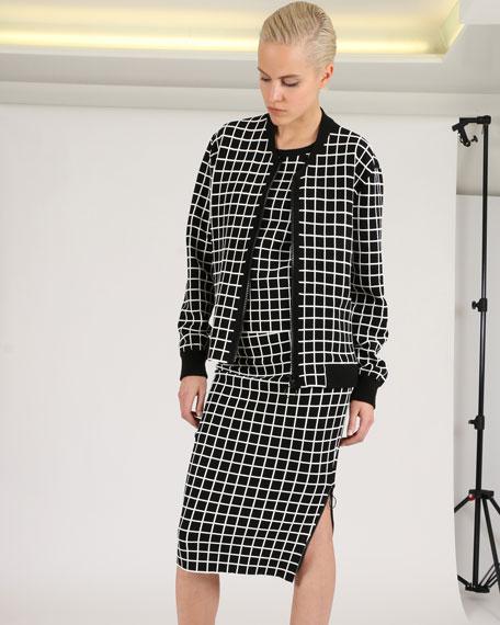 Grid-Pattern Knit Bomber Jacket