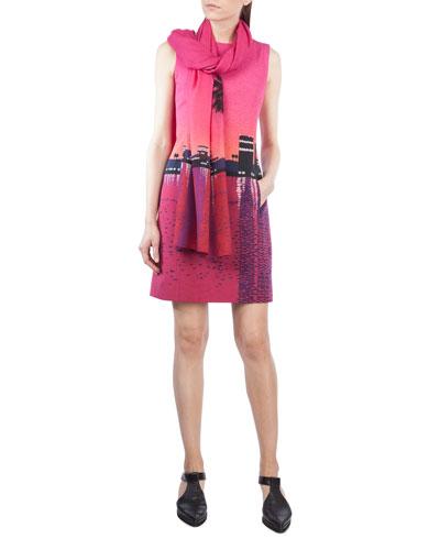 Sunset-Print Sleeveless Shift Dress and Matching Items