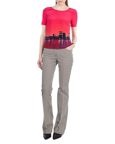 Faye Boot-Cut Striped Denim Pants and Matching Items