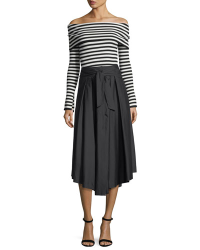 Button-Front Poplin Midi Skirt and Matching Items