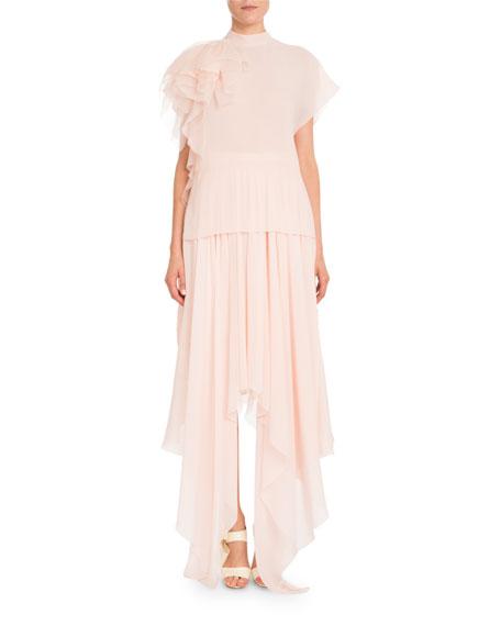 Silk Georgette Asymmetric Skirt