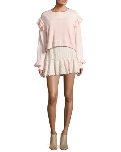 Round-Neck Long-Sleeve Sweatshirt w/ Ruffled Trim and Matching Items