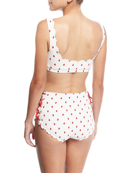 Palm Springs Scalloped Lace-Up Swim Top, White