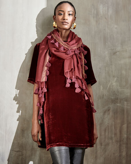 Half-Sleeve Velvet Tunic