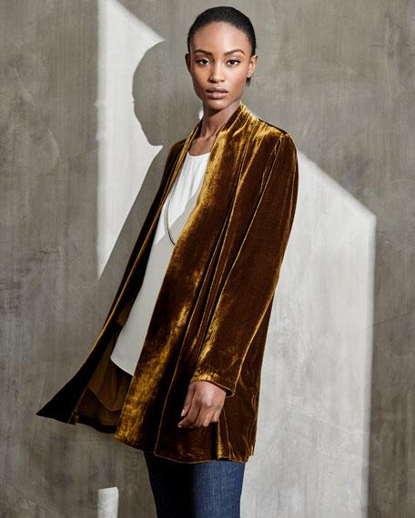 Velvet Long Shawl-Collar Jacket