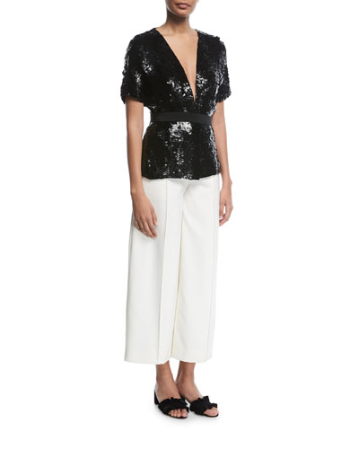 Seamed Wide-Legs Cropped Pants  and Matching Items