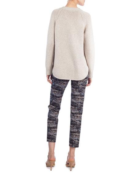 Knit Crewneck Circle-Detail Sweater