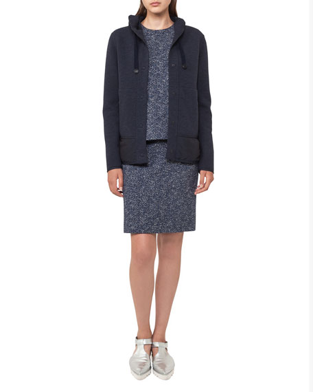 Hooded Snap-Front Jacket With Padded Hem