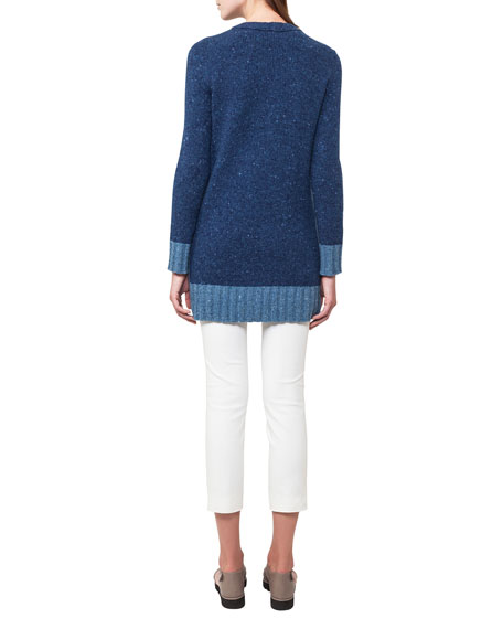 V-Neck Sleeveless Mélange A-Line Wool-Cashmere Sweater