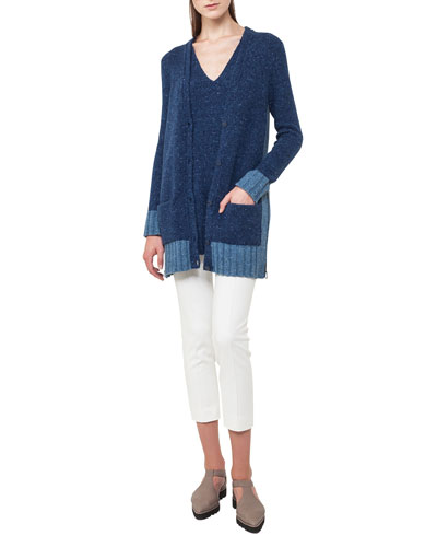 V-Neck Sleeveless Mélange A-Line Wool-Cashmere Sweater and Matching Items
