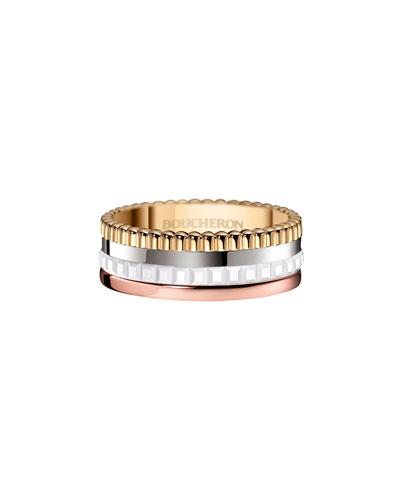Quatre Small Tricolor Gold & White Ceramic Ring, Size 53