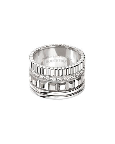 Quatre 18K White Gold Ring with Diamonds