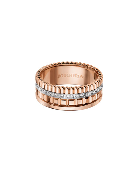 18K Pink Gold Band Ring with Diamonds, Size 54