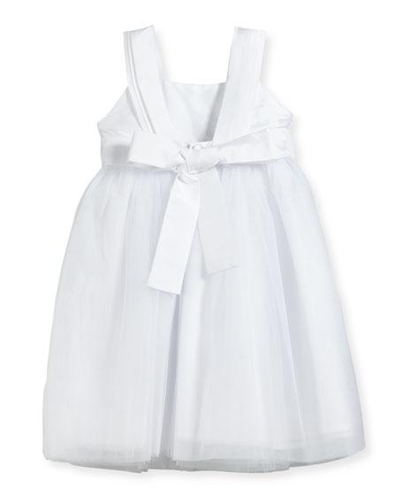Venice Pleated Straps V-Back Dress, White, Size 4-6