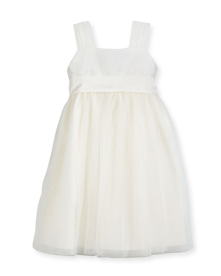 Venice Pleated Straps V-Back Dress, Ivory, Size 7-10
