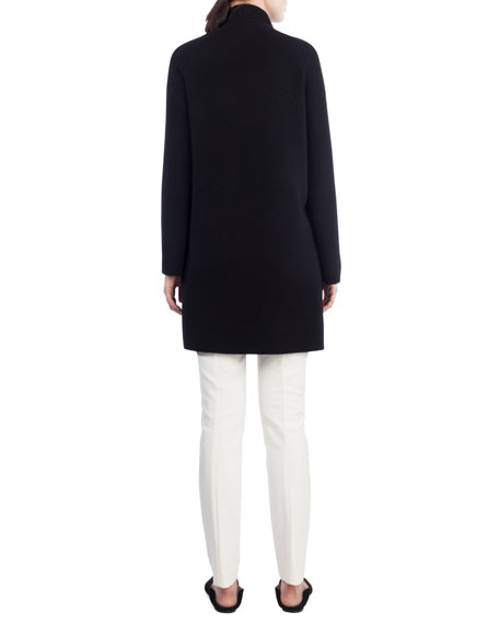 Open-Front Reversible Striped Cashmere Knit Coat