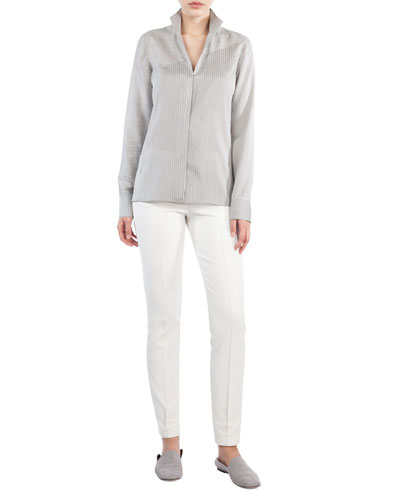 Melissa Ankle-Zip Skinny Pants, Ivory and Matching Items