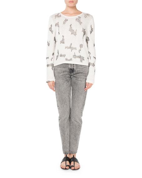 Crewneck Intarsia-Knit Cropped Cashmere Sweater